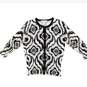 WHBM fitted cardigan white, black tan print EUC XS